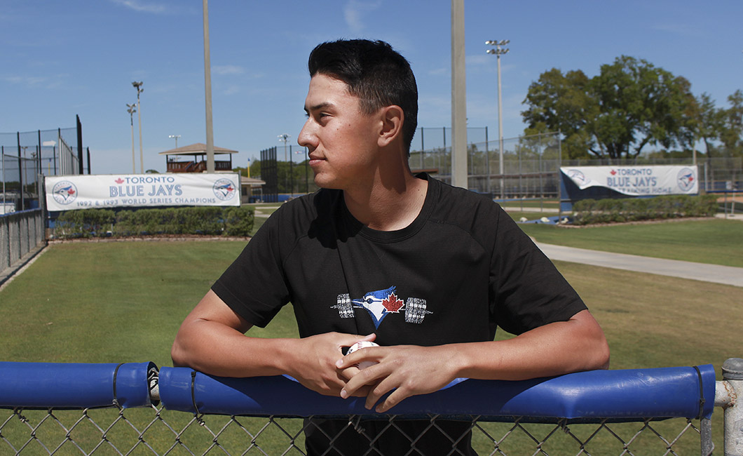 Quincy University grad Graham Spraker, pictured here at the Bobby Mattick Training Complex in Dunedin, Fla., posted a 1.62 ERA in 19 appearances for the Rookie-ball Bluefield Blue Jays in 2017. Photo Credit: Karan Gill