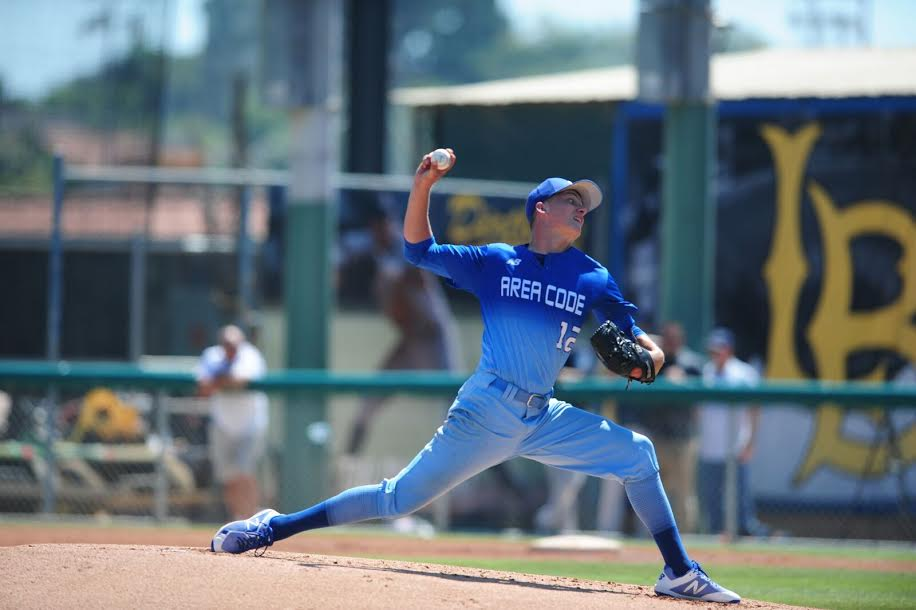 RHP David Rhodes pitching at the Area Codes Games in Long Beach.