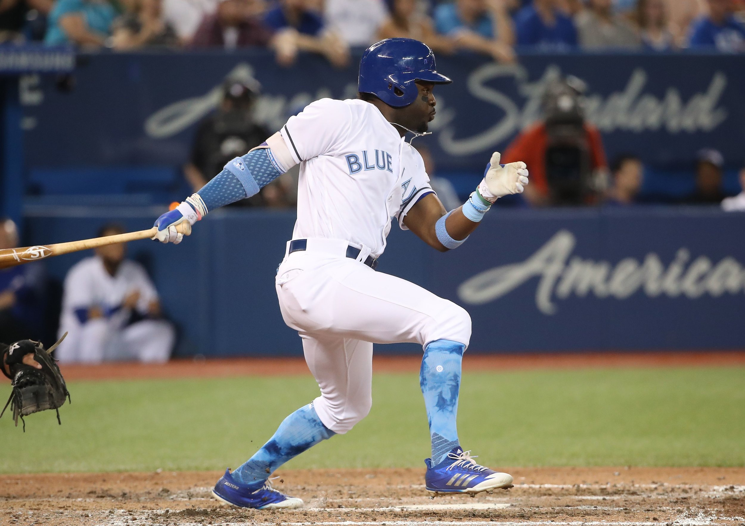 The Toronto Blue Jays have recalled outfielder Dwight Smith Jr. from triple-A Buffalo.