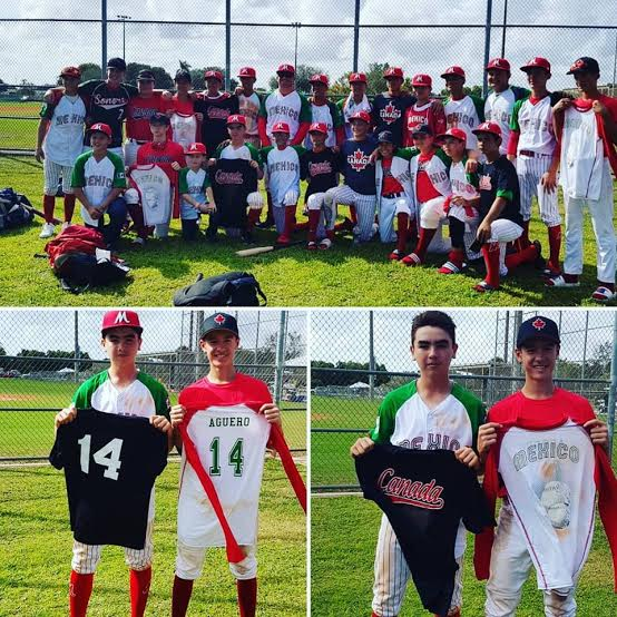 Meixco aad Canuck players switch uniforms, like Canuck No. 14 Owen Stevenson wound up with a No. 14 from the Mexico team. Photo: Reyna Stevenson.