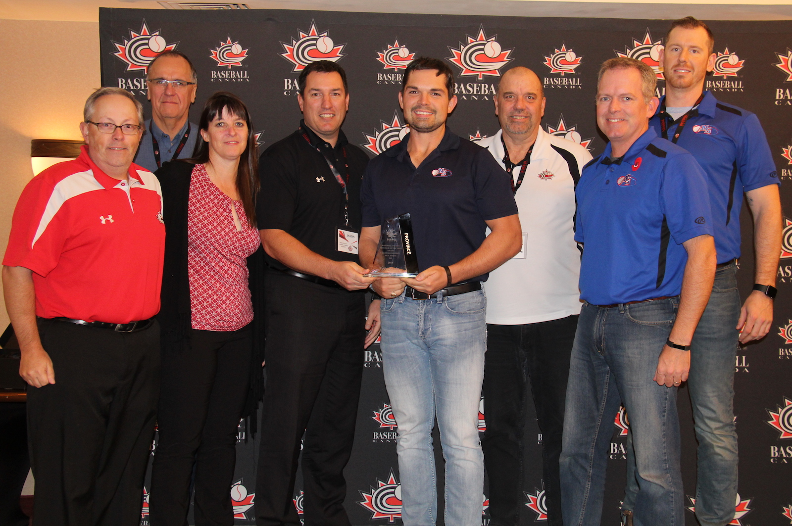 Representatives from Baseball Nova Scotia accept Baseball Canada's Province of the Year award. Photo Credit: Baseball Canada