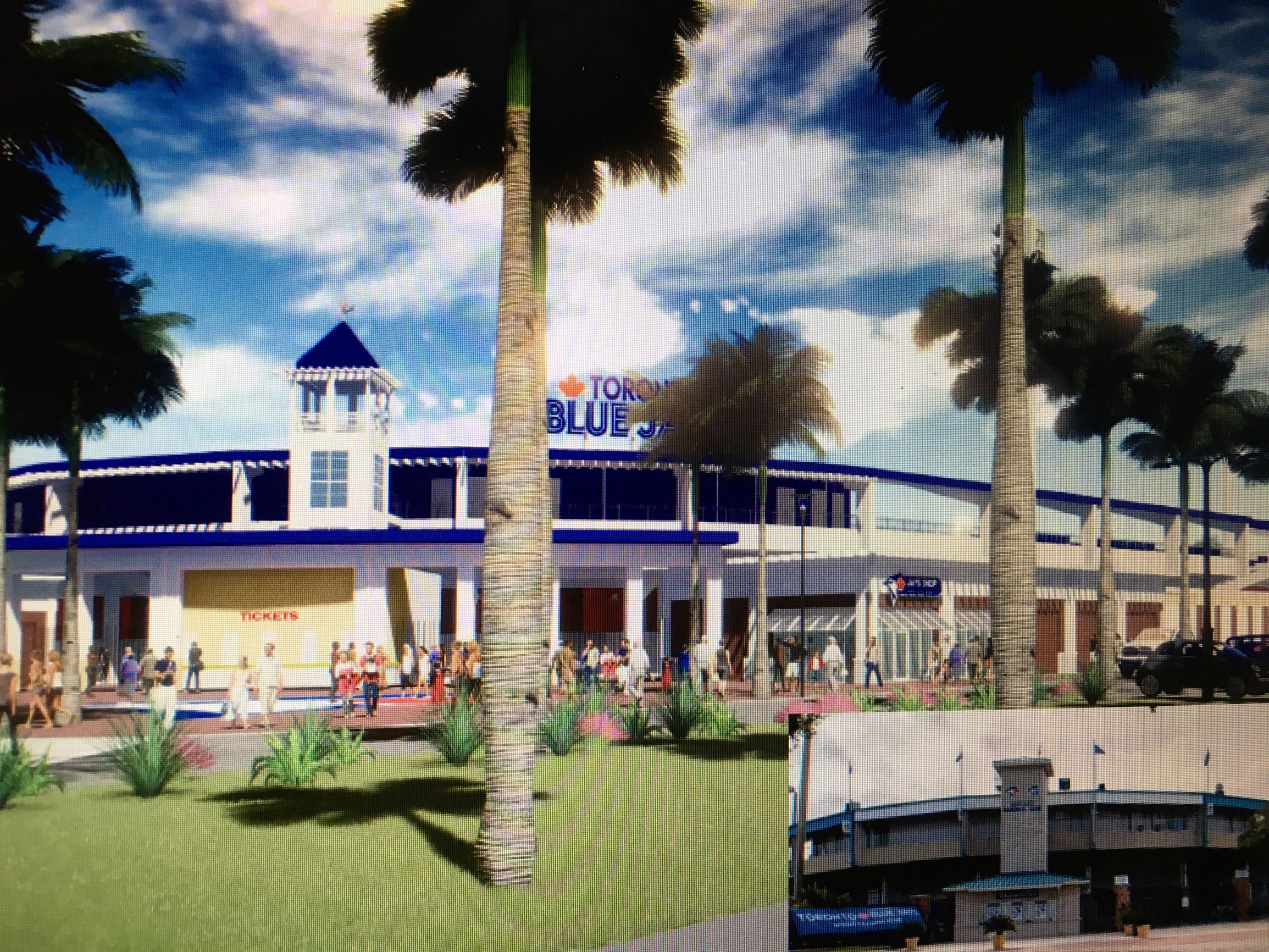 A look at the design for the main entrance of new Dunedin Stadium, which officials say will be ready in time for spring training 2020.