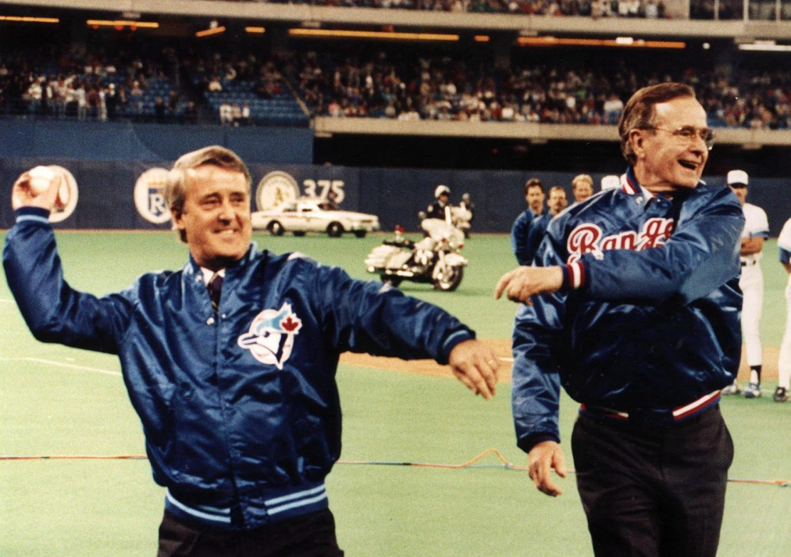 Right-hander Brian Mulrooney and lefty George H. W. Bush threw out the ceremonial first pitches before the 1991 all-star game at the Rogers Centre.