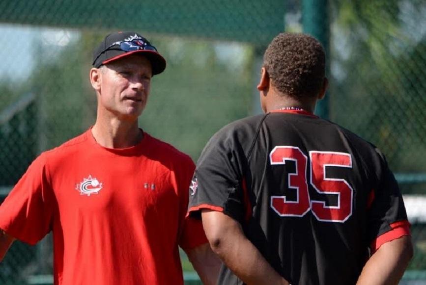 Greg Hamilton (Ottawa, Ont.), left, talks to former Canadian Junior National Team member Josh Naylor (Mississauga, Ont.)
