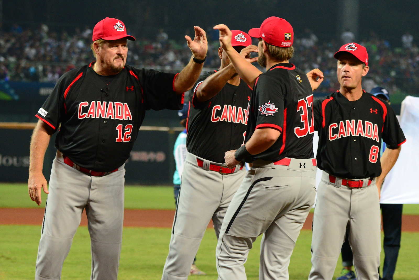 On Wednesday, Baseball Canada unveiled its roster for the Pan Am Qualifier that will take place in Sao Paulo, Brazil starting on January 29. Ernie Whitt (far left) will again manage the team. Photo Credit: Baseball Canada