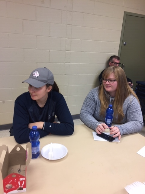 Hannah Pelletier (left) and Kyle O'Donnell participate in a discussion about girls' and women's baseball in Canada.