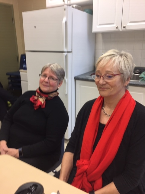 Cathie Hughes (left) and Judith Mills (right) participate in a discussion about girls' and women's baseball in Canada.