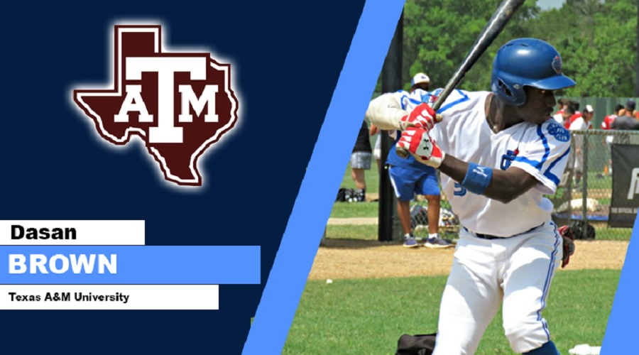 Ontario Blue Jays OF Dasan Brown (Oakville, Ont.) is the top Canuck joining the No. 7 ranked Texas A&M Aggies … making it 49 on rosters or committed to top 100 teams.