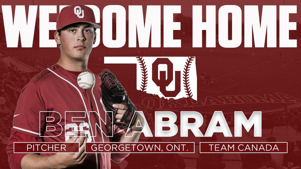 Former Ontario Terrier and Junior National team alum Ben Abram (Georgetown, Ont.) picked up a win in his collegiate debut for Oklahoma. In the his first start, he allowed just one earned run and struck out in five innings.