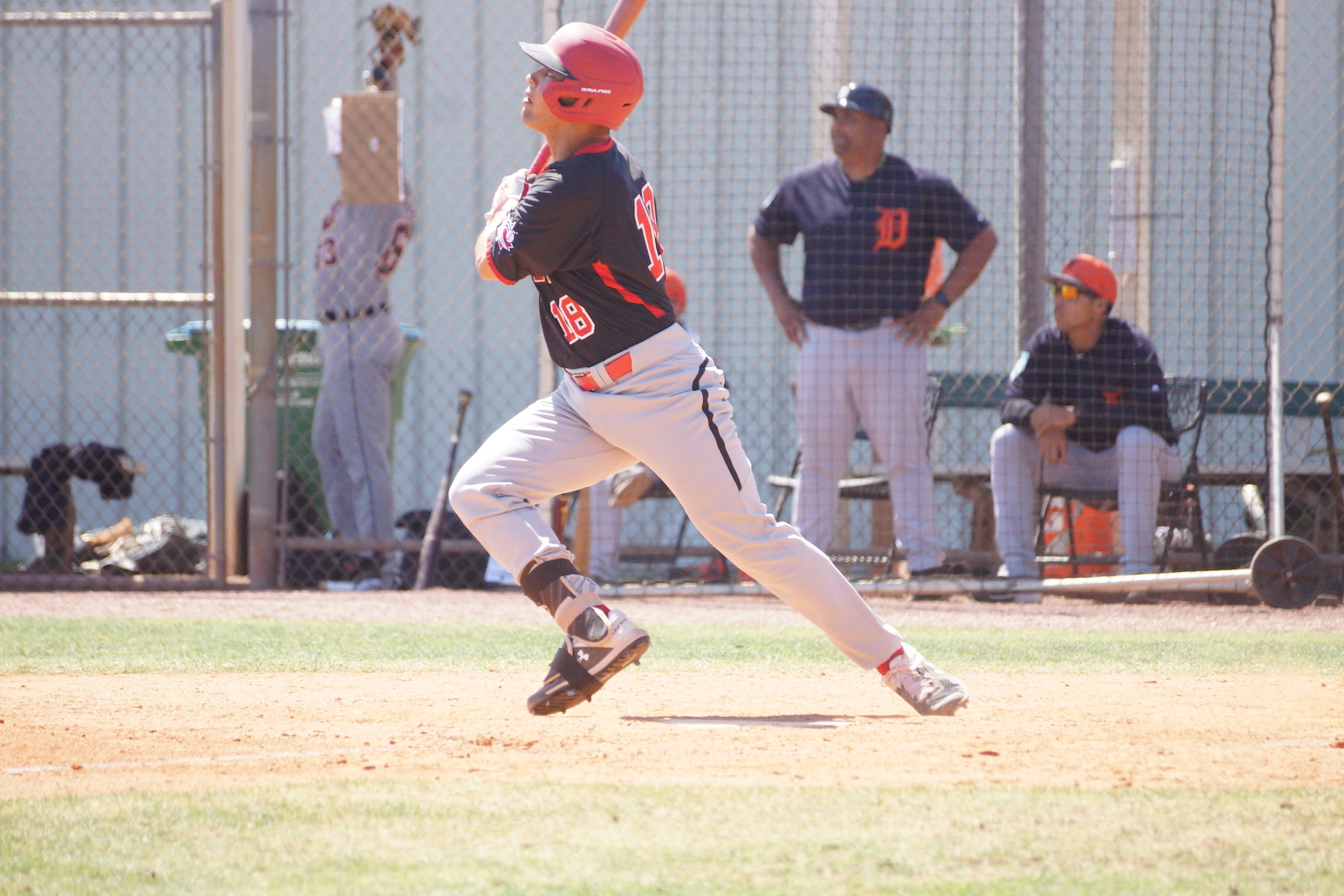 TJ Schofield-Sam (Brampton, Ont.) led the Junior National Team's offence on Friday with a 3-for-4 day at the plate, including a two-run home run. He also knocked in three runs. Photo: Eddie Michels