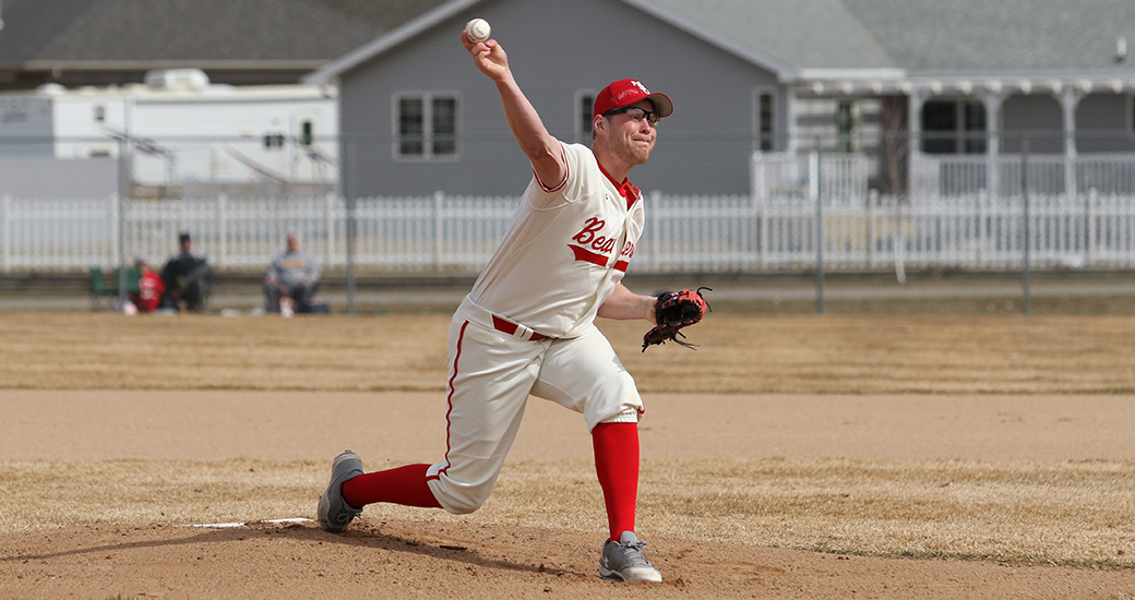 Vauxhall Academy grad Reilly O'Rourke (Sydney, N.S.) hurled five scoreless innings for the Minot State Beavers. Photo: Minot State Athletics