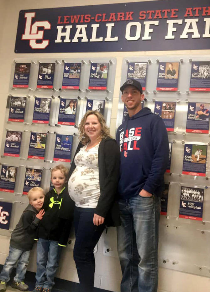 Chris Kissock (Trail, B.C.) and family attended the Lewis-Clark State Hall of Fame ceremony in Lewiston on Saturday. Kissock was inducted along with his 2007 NAIA World Series Championship baseball team. Photo: Trail Times