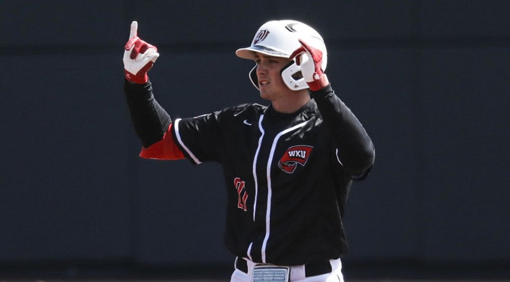 Team Nova Scotia alum Jake Sanford (Dartmouth, N.S.) continued his torrid stretch with the Western Kentucky University Hilltoppers, going 5-for-9 in Saturday's doubleheader. Photo: WKU Athletics.
