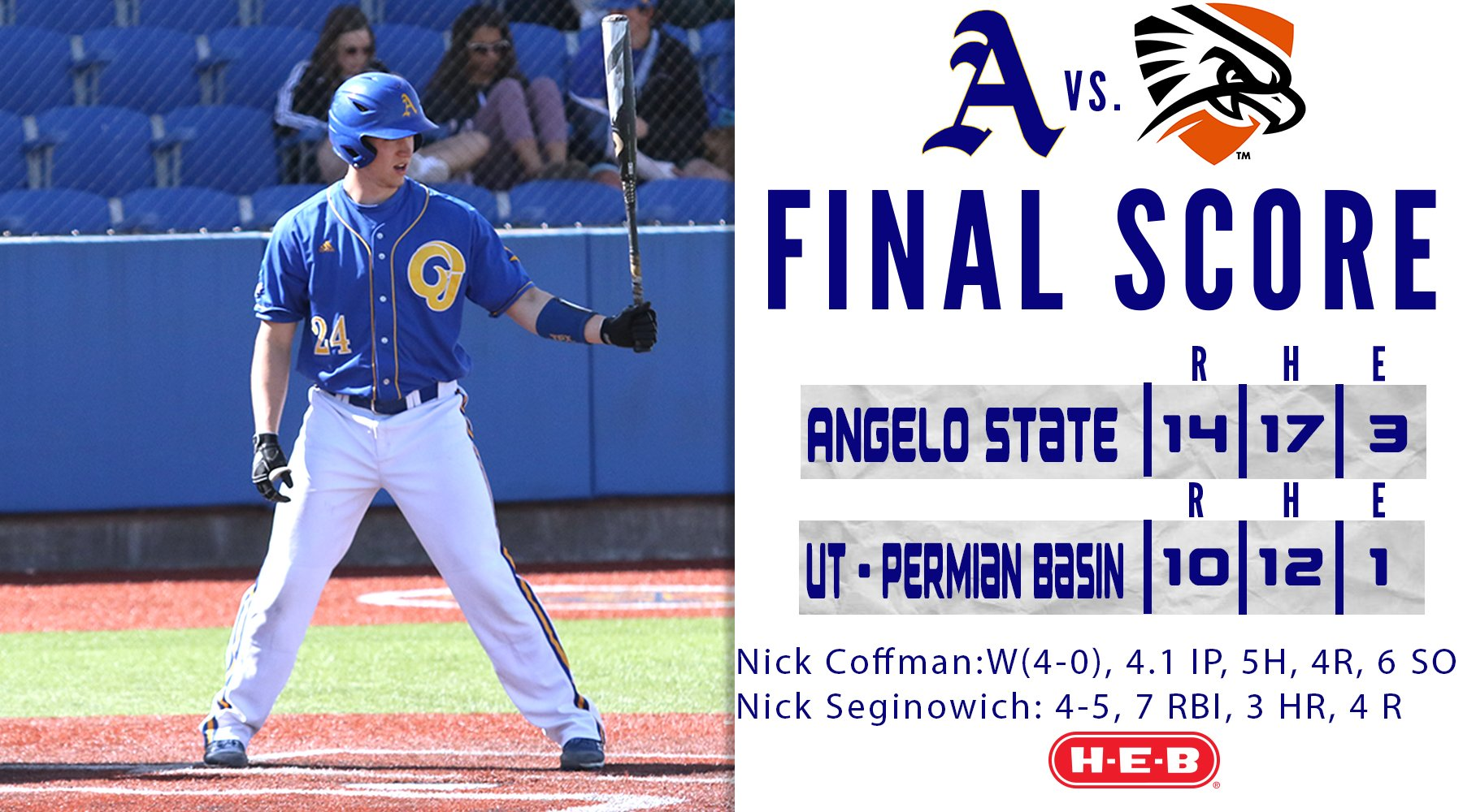Victoria Mariners alum Nick Seginowich (Victoria, BC) had seven hits and batted .438 in four games with Angelo State. Photo: Angelo State Athletics/Twitter
