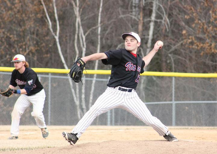 Regina Mets grad Colin Gudereit (Regina, Sask.) hurled a scoreless inning for the University of Mary Marauders. Photo: Kyle Nelson, Grand Rapids Herald Review