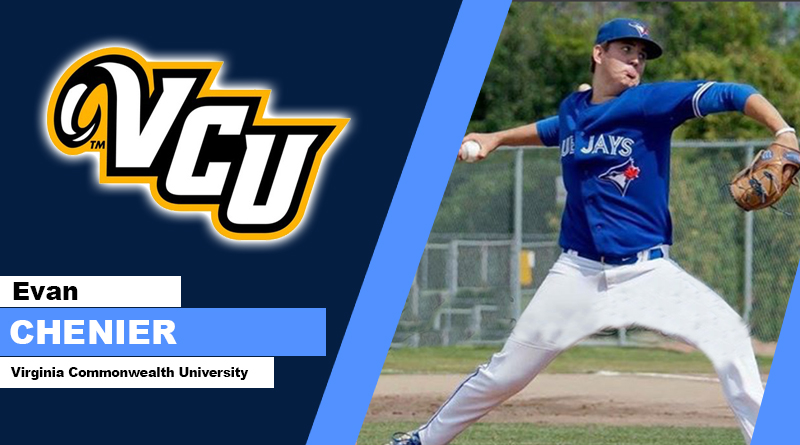 Ontario Blue Jays alum Evan Chenier (Georgetown, Ont.) did not allow a run in two innings in his appearance for VCU. Photo: Ontario Blue Jays