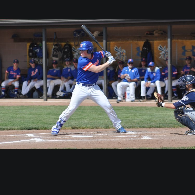 Toronto Mets alum Evan Magill (Ajax, Ont.) had eight hits, eight RBIs and four runs in five games for Monroe Community College. Photo: Twitter.