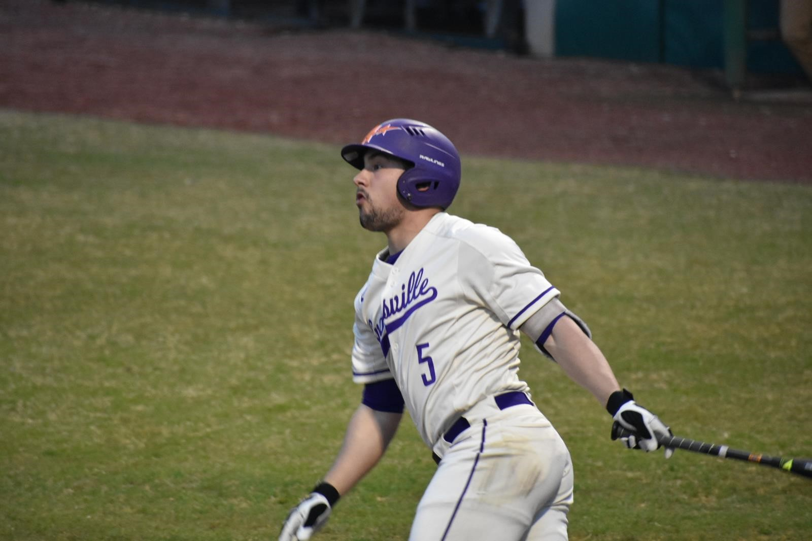 Ontario Blue Jays alum Matthew Jones (Bowmanville, Ont.) had four hits, four walks and three RBIs in four games for the Evansville Purple Aces. Photo: University of Evansville Athletics