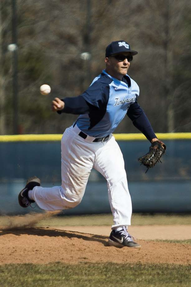 Former Toronto Met Peter Joseph (Toronto, Ont.) tossed 2 1/3 scoreless innings in a relief appearance for Northwood. Photo: Midland Daily News