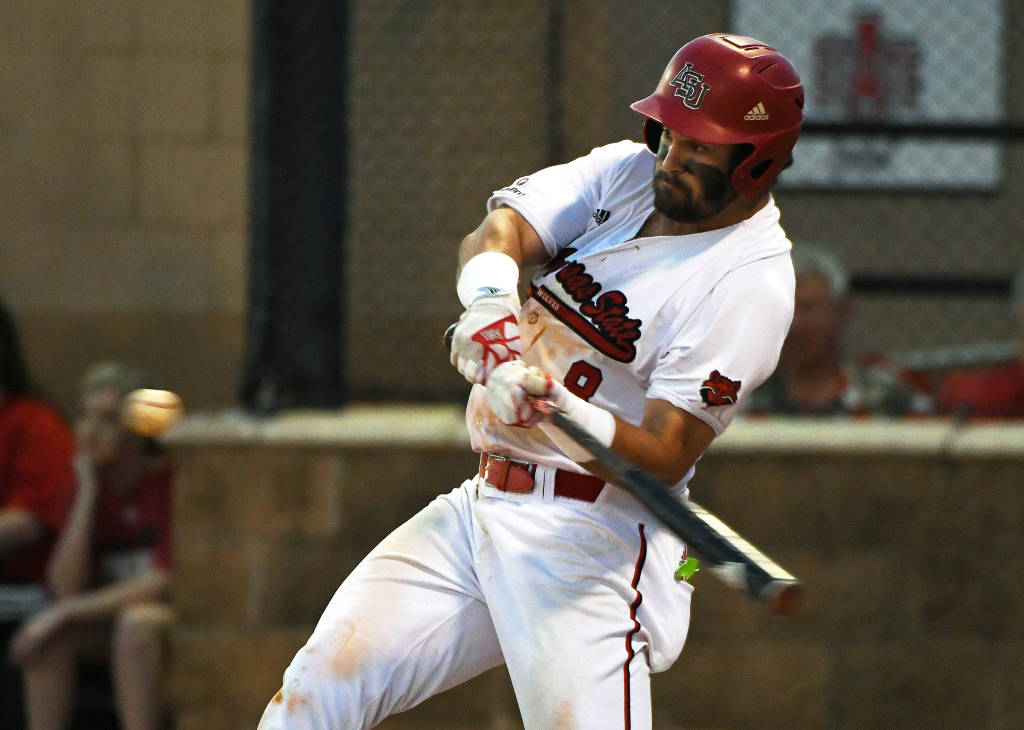 Ontario Terriers alum Kyle MacDonald (Mississauga, Ont.) had five hits, three walks, and four RBIs to help Arkansas State sweep a three-game series against Appalachian State. Photo: Arkansas State Athletics
