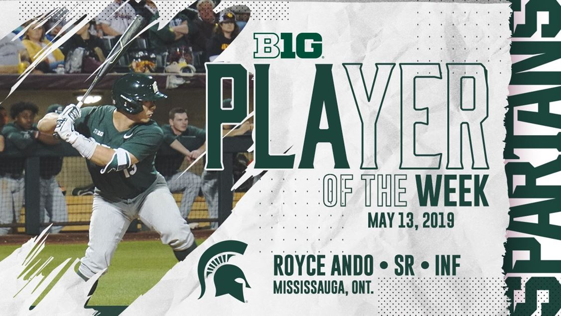 Former Ontario Blue Jays INF Royce Ando (Mississauga, Ont.) earned Big Ten POW honours.