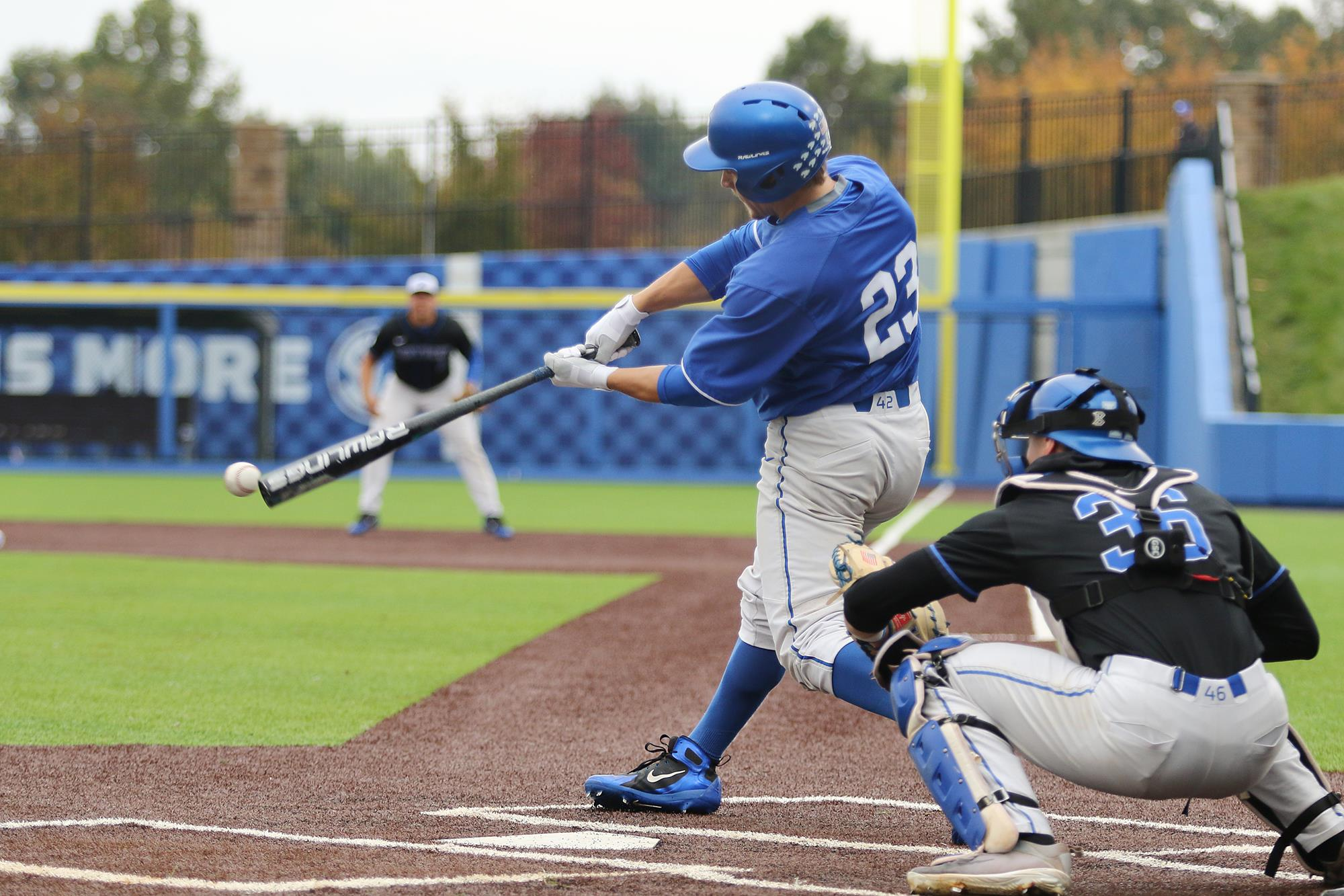 Former Ontario Terrier Elliott Curtis (Waterloo, Ont.) had two hits for the Kentucky Wildcats to help them to a 7-4 win over Michigan on Tuesday. Photo: UK Athletics (file photo)