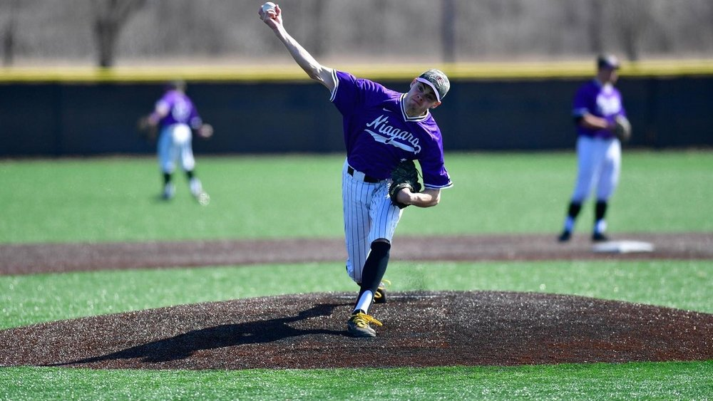 Kingston Thunder alum Matt Brash (Kingston, Ont.) was named the Metro Atlantic Athletic Association Pitcher of the Year this week after completing a season that saw post a 2.43 ERA in 85 1/3 innings for the Niagara Purple Eagles. Photo: Niagara University Athletics