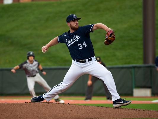 Great Lake Canadians and Ontario Blue Jays alum Noah Skirrow (Stoney Creek, Ont.) tossed 7 1/3 scoreless innings and picked up a win in two appearances - including one start - for the Liberty Flames this past week. Photo: Liberty University Athletics