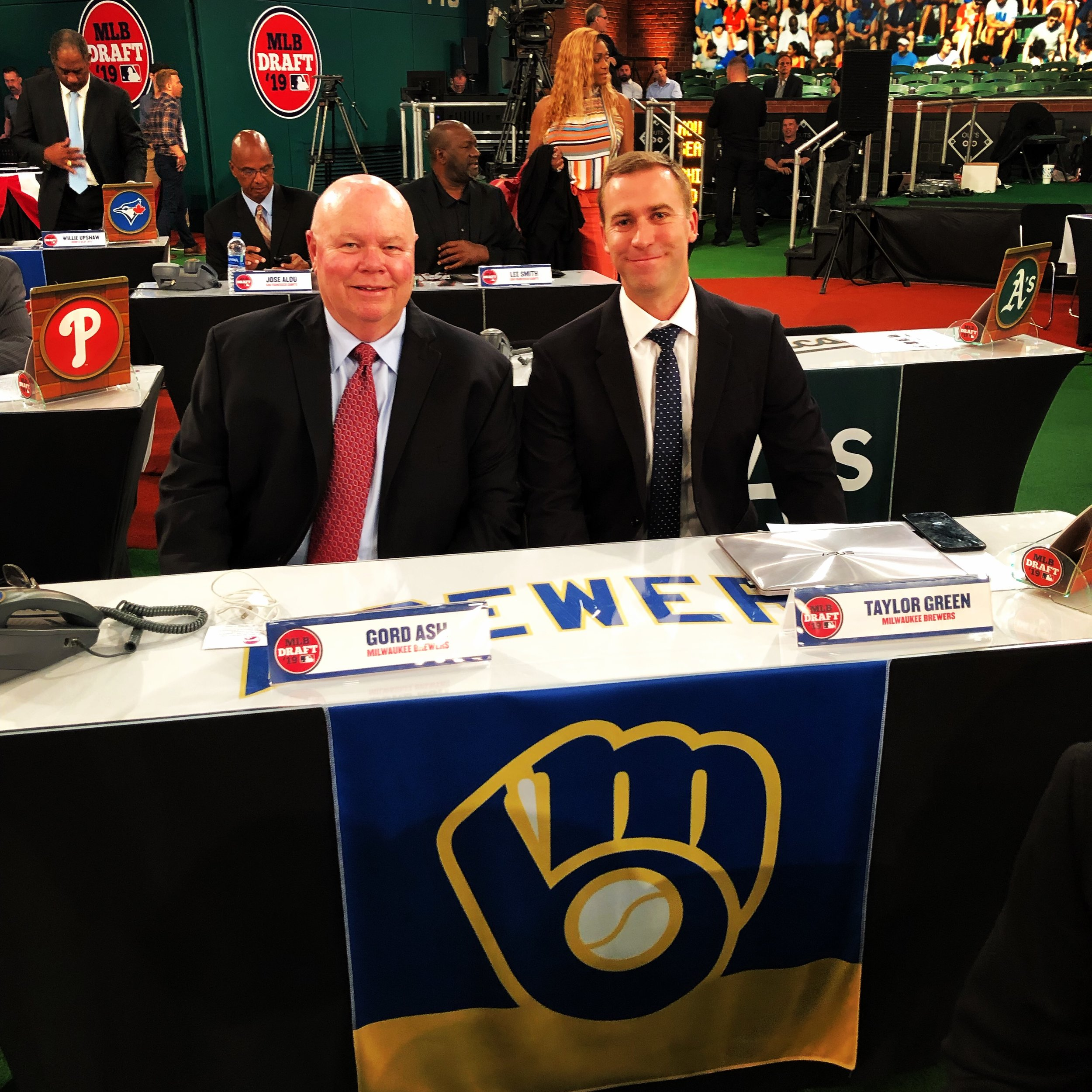 """Says Gordon Ash, left: """"Taylor Green and I rep the Brewers and We the North."""""""
