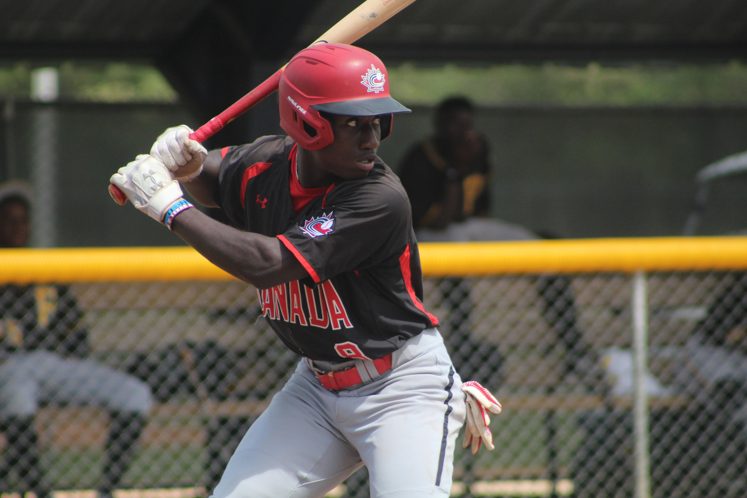 OF Dasan Brown (Oakville, Ont.) of the Ontario Blue Jays on the Canadian Junior National Team's recent trip to the Dominican. Photo: Adam Morissette.