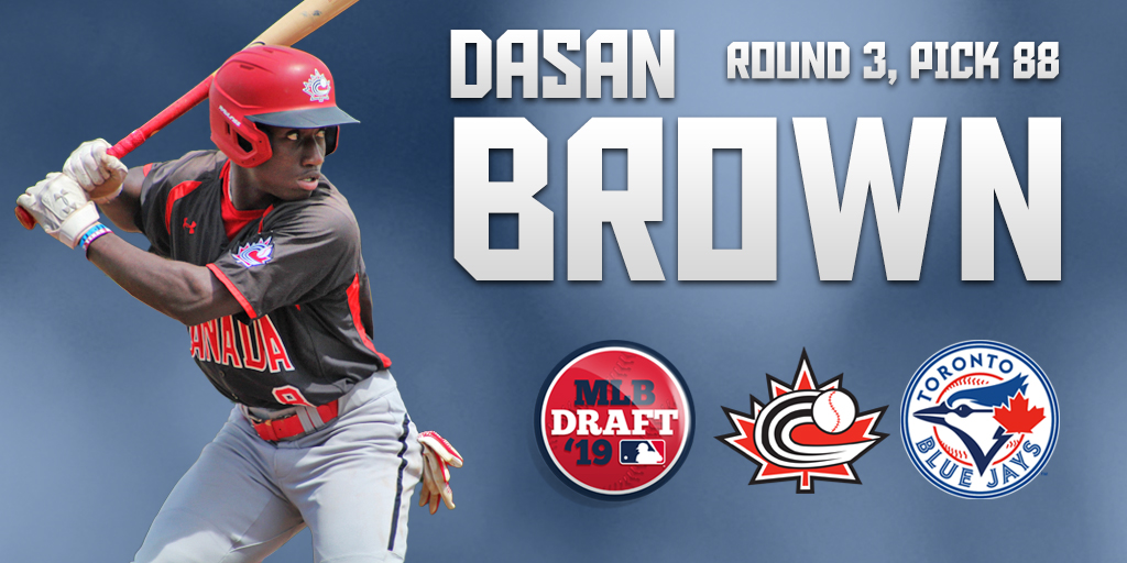 Ontario Blue Jays and Junior National Team member Dasan Brown (Oakville, Ont.) became the first Canadian selected in the 2019 MLB Draft when the Toronto Blue Jays chose him in the third round. Photo: Baseball Canada