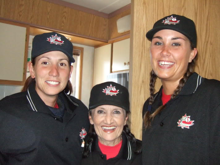 Former umpire Nikki Ross (Mississauga, Ont.) middle, shown here with Maxime Boyer and Siobhan Marie Savard, will be inducted into the Mississauga Hall of Fame on Wednesday.