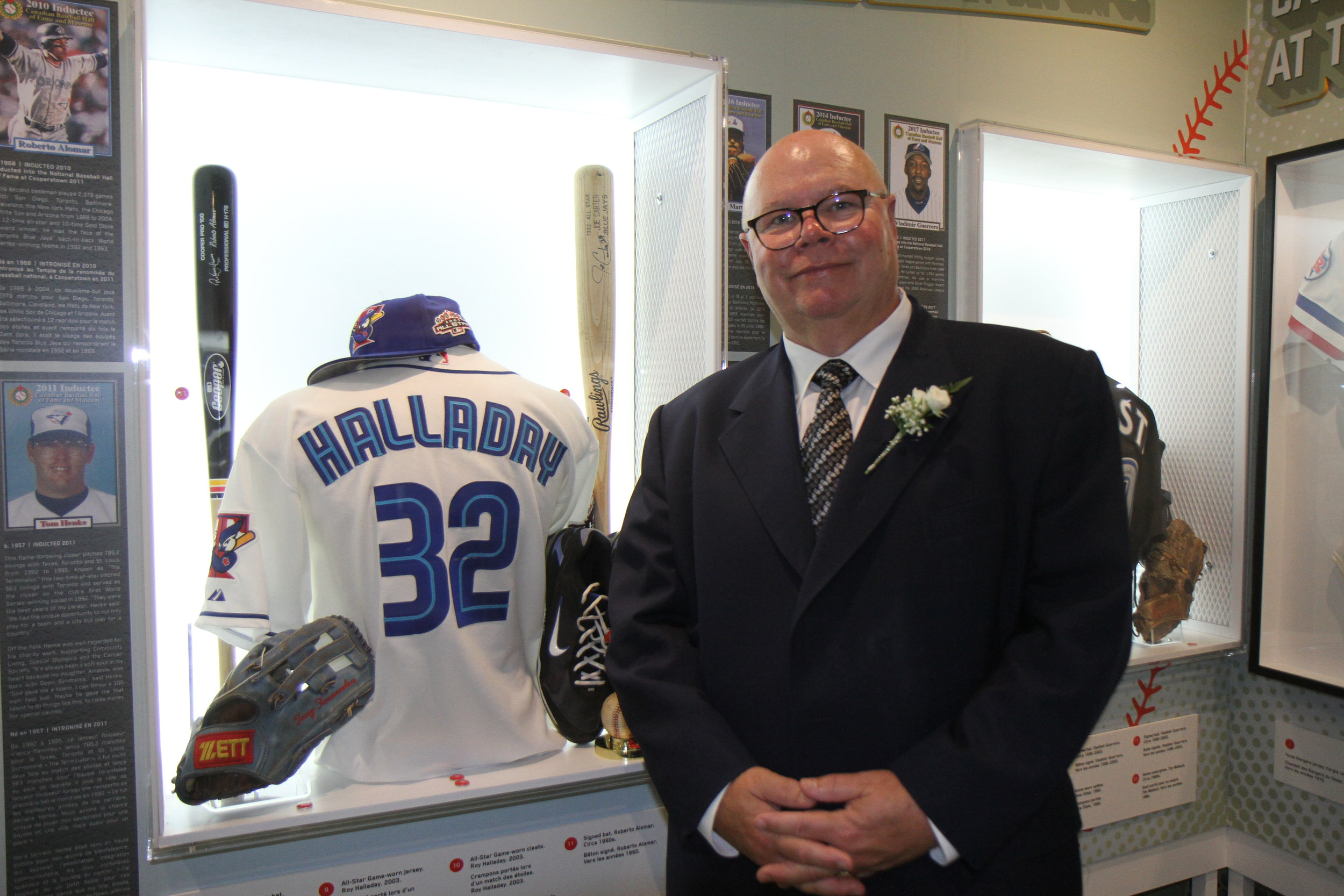 Former Blue Jays general manager and newly minted Canadian Baseball Hall of Fame inductee Gord Ash with some of the Blue Jays memorabilia on display at the museum in St Marys, Ont. Photo: J.P. Antonacci