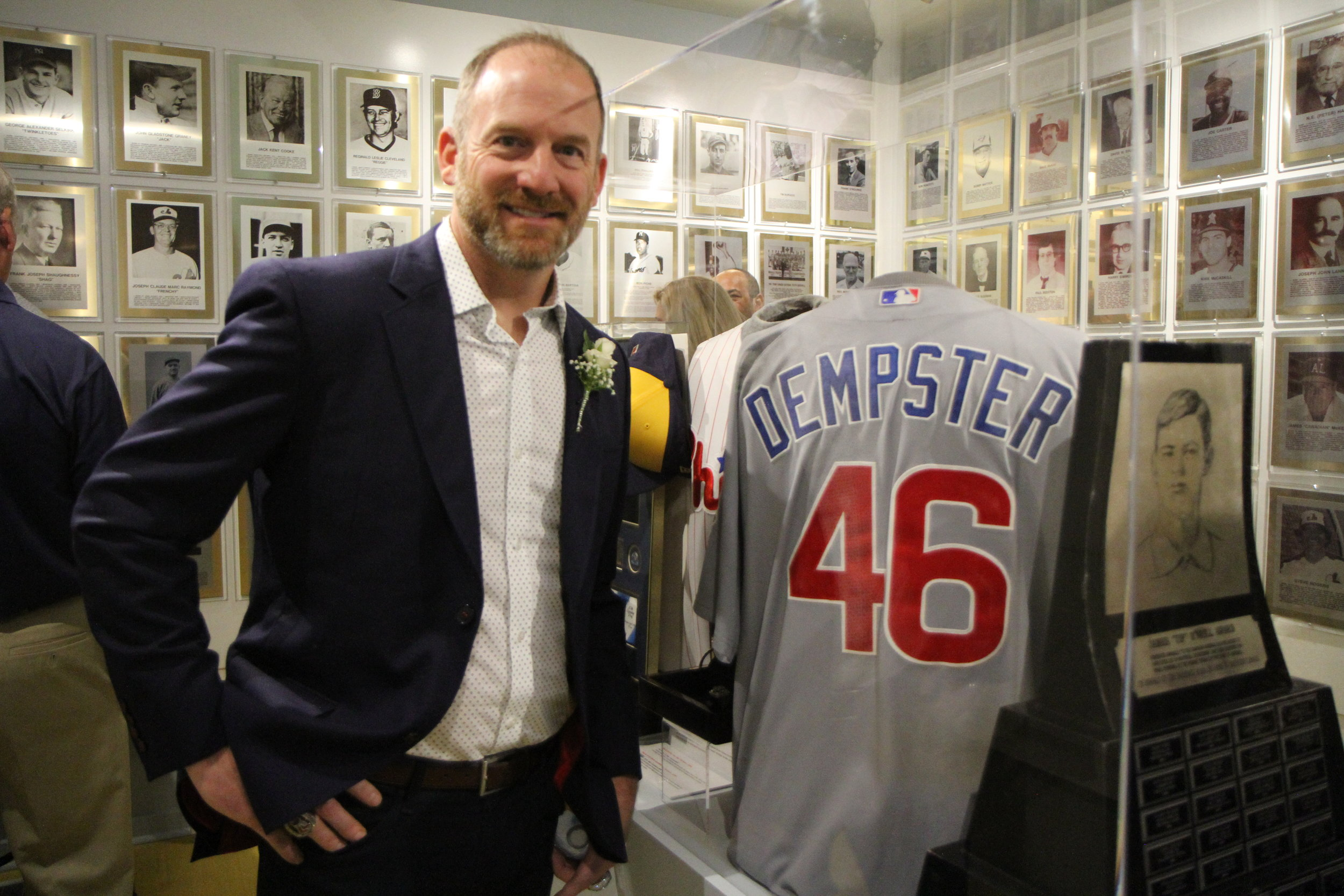 2019 Canadian Baseball Hall of Fame inductee Ryan Dempster stands beside his game-worn Chicago Cubs jersey inside the museum prior to his induction on Saturday. Photo: J.P. Antonacci