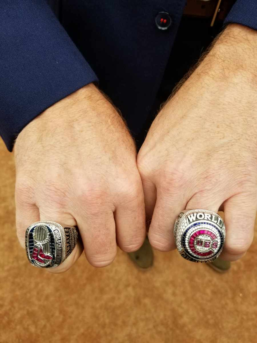 This is a close-up of Ryan Dempster's two World Series rings. He won one as a pitcher with the Boston Red Sox in 2013 and another while serving as a special assistant to the president with the Chicago Cubs in 2016. Photo: J.P. Antonacci