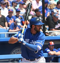 Former Toronto Blue Jay Chris Colabello, who retired on June 17 after beginning this season with the Atlantic League's Sugarland Skeeters, is coming out of his short-lived retirement to play with the independent American Association's Kansas City T-Bones. Photo: Wikipedia