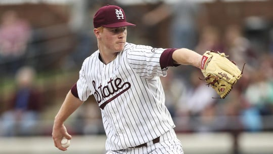 Great Lake Canadians alum Eric Cerantola (Oakville, Ont.) went 3-0 with a 4.30 ERA over 14 2/3 innings in his freshman season with the Mississippi State Bulldogs. Photo: Mississippi State Athletics