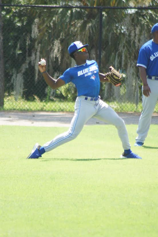 OF Dasan Brown (Oakville, Ont.) has switched from an Ontario Blue Jays uniform to a Toronto Blue Jays one. The top Canadian selected this year is in Dunedin. Photo: Eddie Michels.