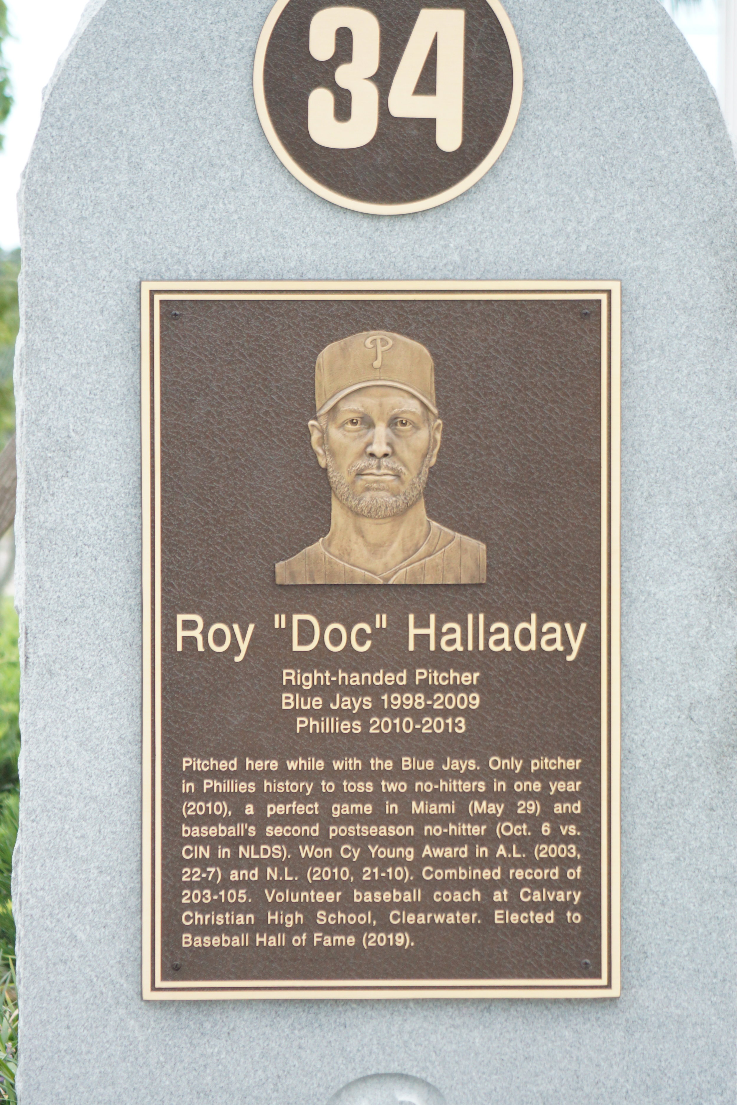 RHP Roy Halladay has a plaque at Jack Russell Stadium in Clearwater, Fla., which should be a must stop for Blue Jays fans making the trip to Florida next spring. Photos: Eddie Michels, Rick Vaughn.