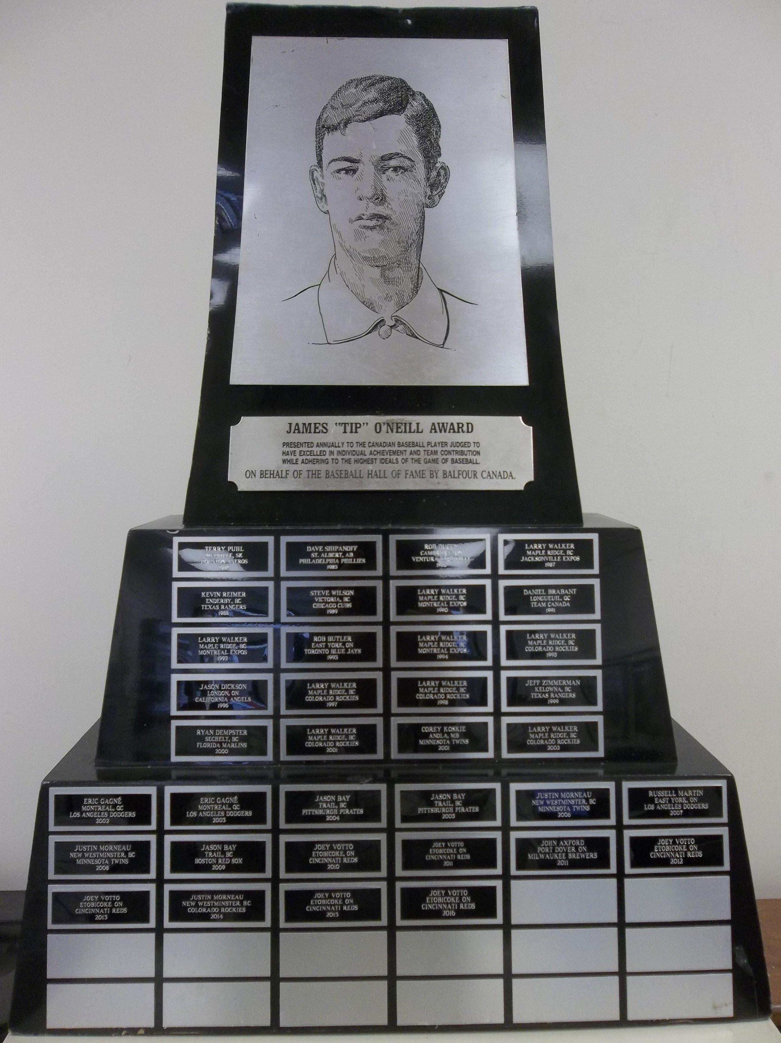 The Canadian Baseball Hall of Fame's Tip O'Neill Award trophy. Photo: Canadian Baseball Hall of Fame
