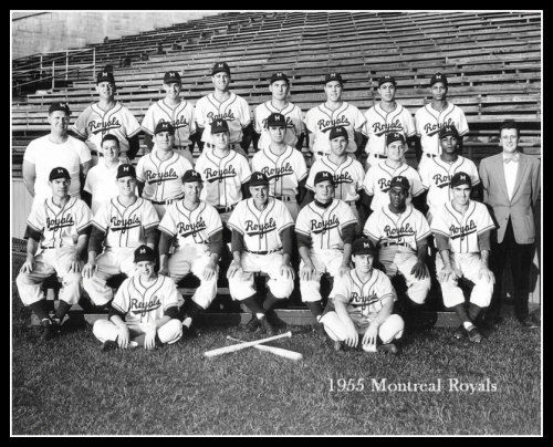 Don Drysdale is second from the left in the bottom row of this 1955 Montreal Royals team photo.