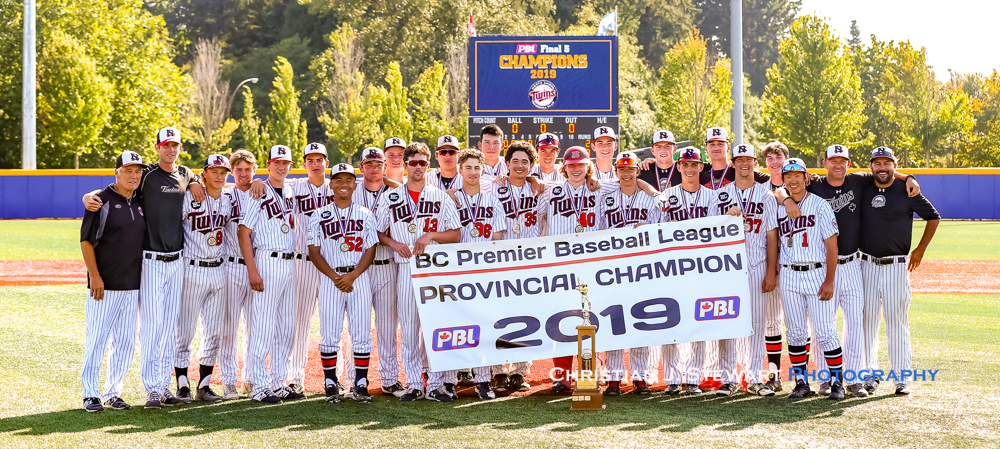 The 2019 BCPBL Champion North Shore Twins. Photo: Christian J. Stewart.