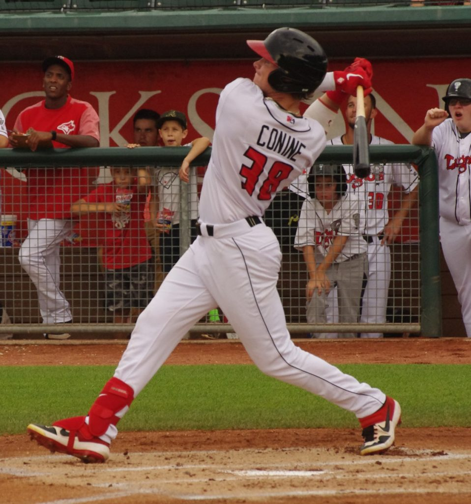 Griffin Conine went 3-for-5 with a home run for the low-A Lansing Lugnuts on Saturday. Photo: Jay Blue