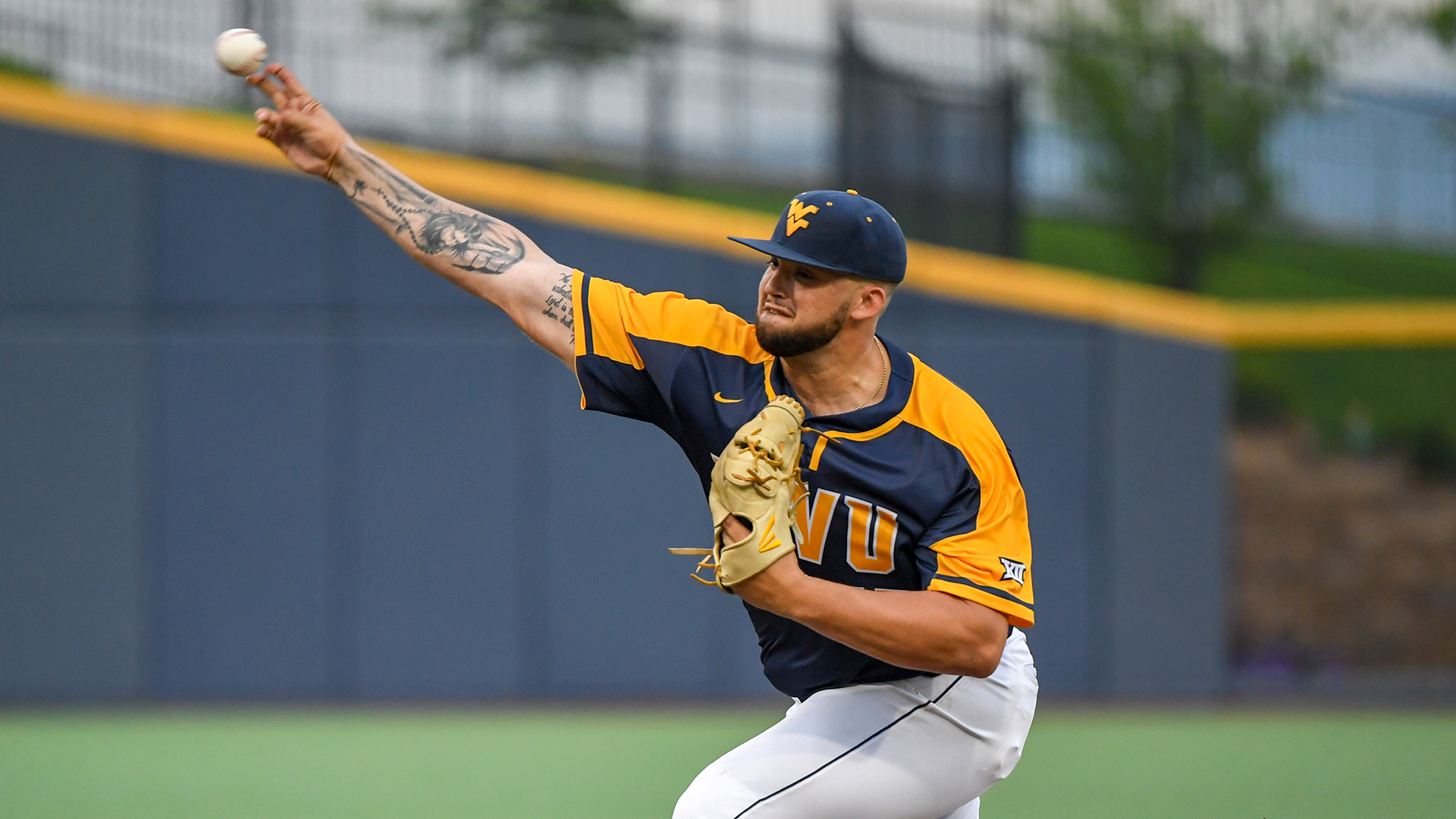 The Toronto Blue Jays selected right-hander Alek Manoah with their first pick in the 2019 MLB draft. He is shown here pitching for West Virginia University. Photo: West Virginia Athletics