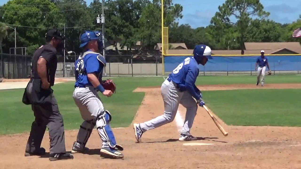 Miguel Hiraldo, 18, shown here after hitting the ball at the Toronto Blue Jays' minor league complex in Dunedin, Fla., has proven to be a solid contact hitter during his short tenure in the organization. Photo: YouTube
