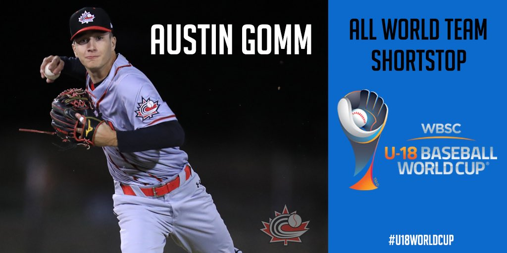Ontario Terriers infielder Austin Gomm (Mississauga, Ont.) was named shortstop on the All-World Team at the WBSC U-18 Baseball World Cup. Photo: Baseball Canada