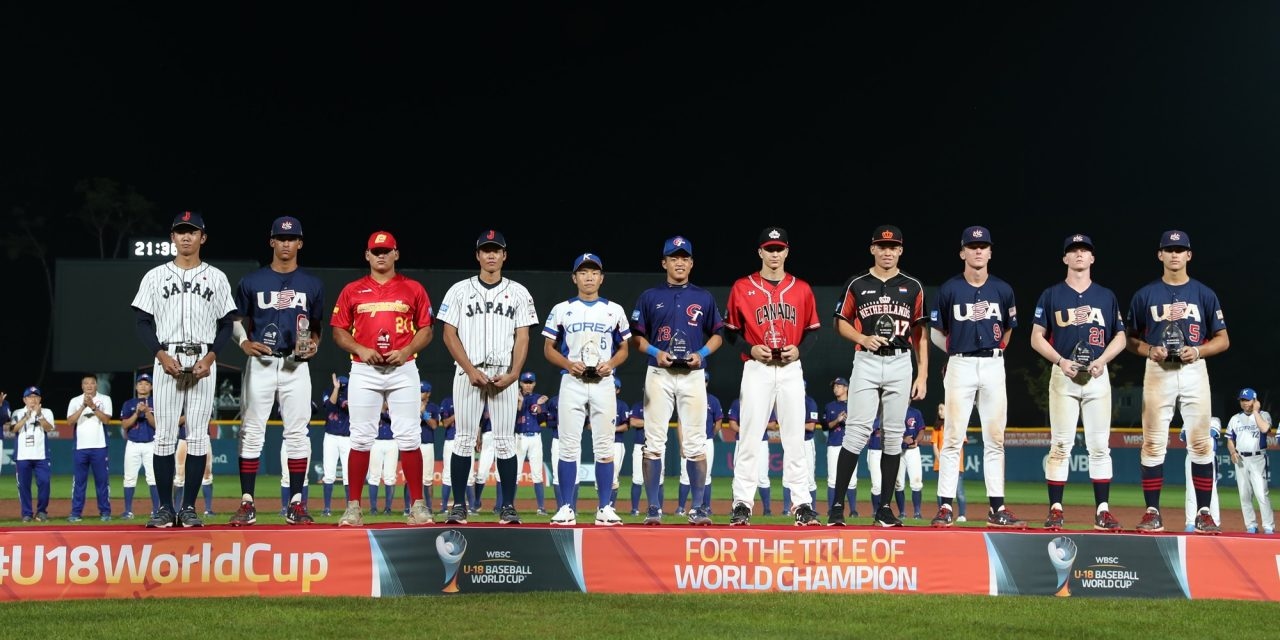 The All-World Team from this year's WBSC 18-U Baseball World Cup. Ontario Terriers infielder Austin Gomm (Mississauga, Ont.) was named the shortstop on the All-World Team. He is the fifth player from the right. Photo: Baseball Canada