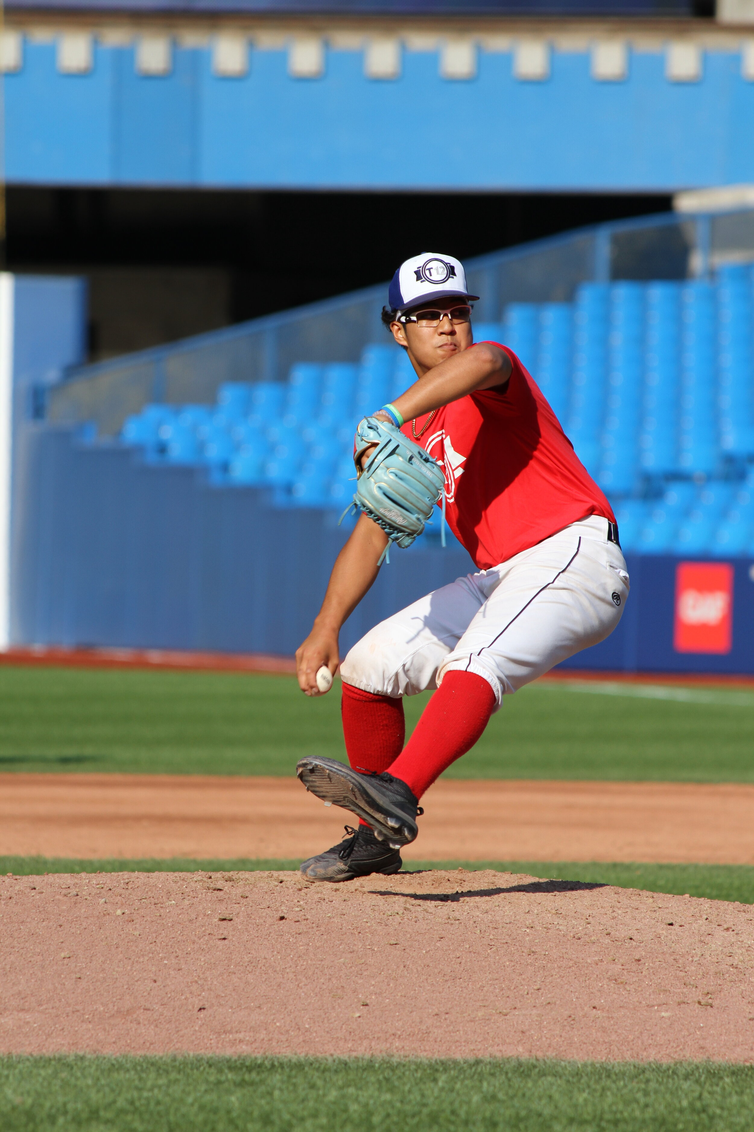 UBC Thunder RHP Vicarte Domingo (Vancouver, B.C.) threw a total of three scoreless innings in his T12 debut, allowing three hits and a walk while striking out five. Photo: J.P. Antonacci
