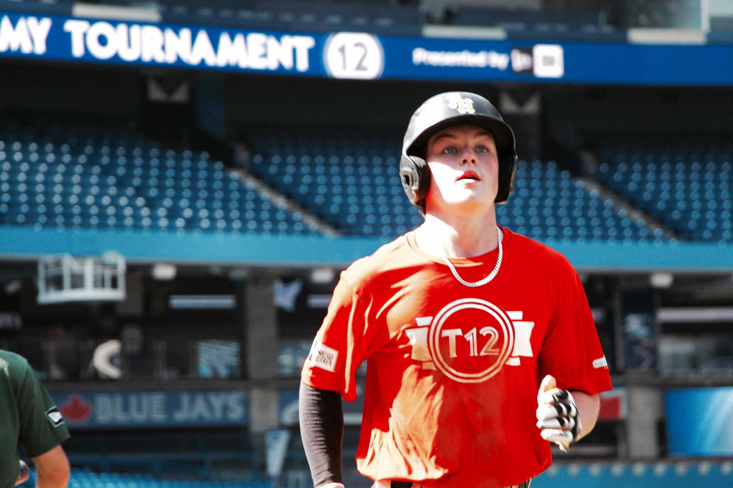 Fieldhouse Pirates SS Bryce Arnold (Grimsby, Ont.) scored the only run for Team Sandy Alomar Sr. in the Prospects Game, hitting a triple in the first inning before coming in to score on a single by fellow Fieldhouse Pirate Owen Caissie (Burlington, Ont.). Photo: Tyler King