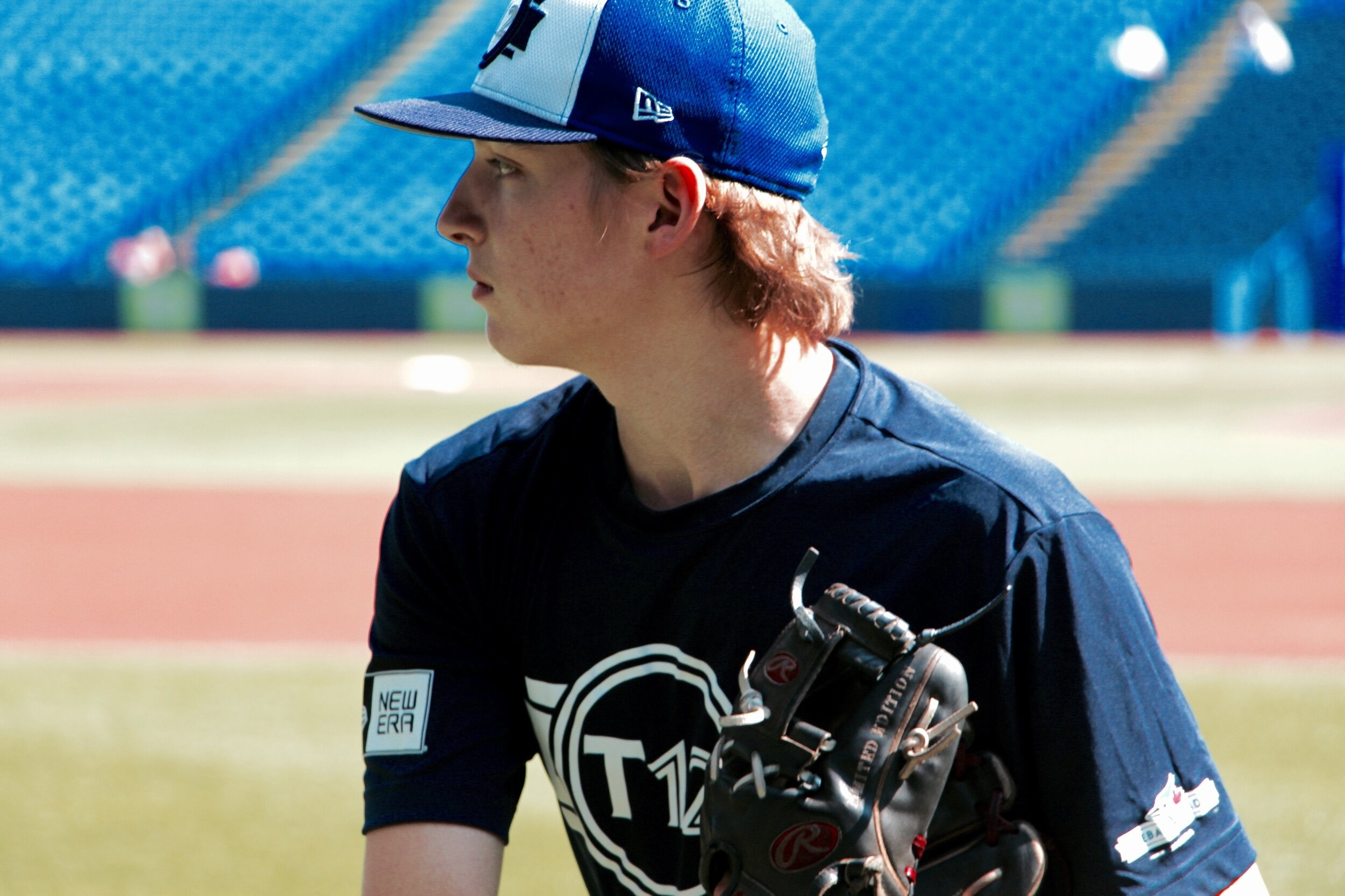 Northeast Baseball 15U Pirates RHP/SS Matthew Grabmann (Cole Harbour, N.S.) warms up before the Tournament 12 Prospects Game on Saturday. Photo: Tyler King